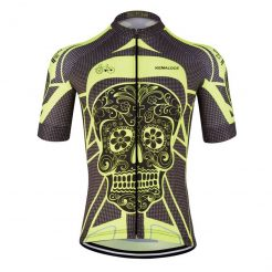 Yellow Skull Cycling Jersey - Front View