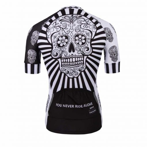White Skull Cycling Jersey - Rear View