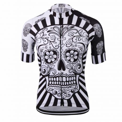 White Skull Cycling Jersey - Front View