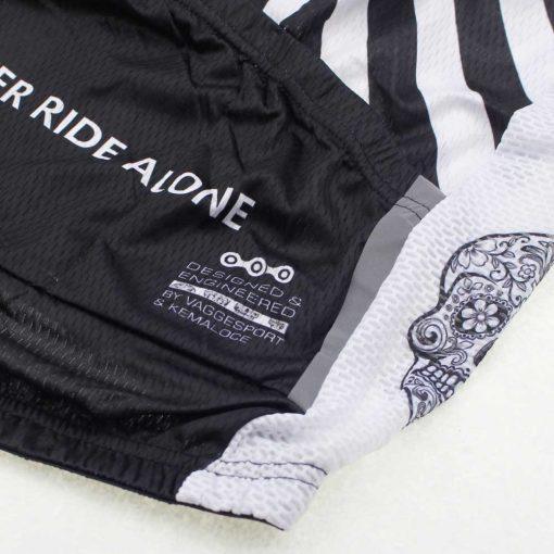 White Skull Cycling Jersey - Rear Pocket Reflective Strip