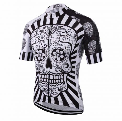 White Skull Cycling Jersey - Front View Angled
