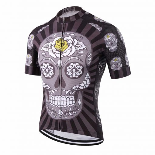 Dark Skull Cycling Jersey - Front View Angled