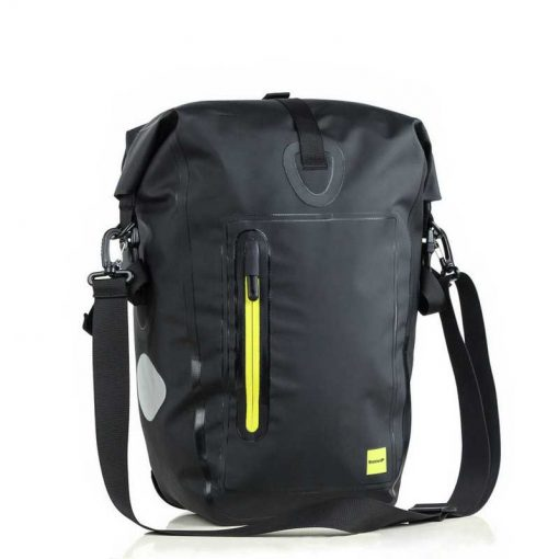 Waterproof Bicycle Pannier Bag - black and fluoro yellow