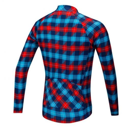 Lumberjack long sleeve cycle jersey - blue/red - rear view