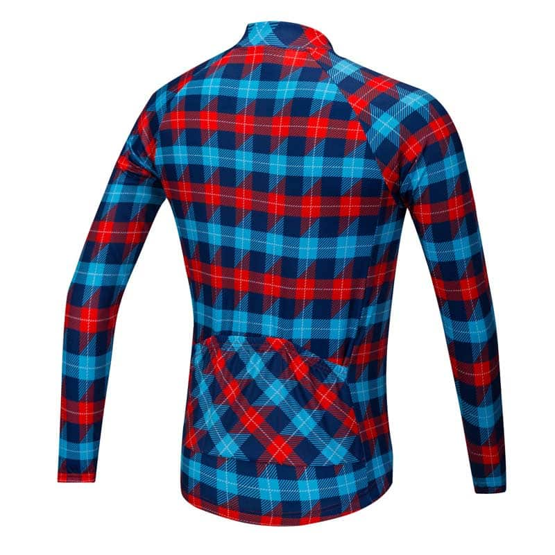Lumberjack long sleeve cycle jersey - blue red - rear view b1cfa6980