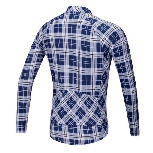 Lumberjack long sleeve cycle jersey blue-white rear view