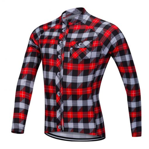 Lumberjack long sleeve cycle jersey red-grey-black front view
