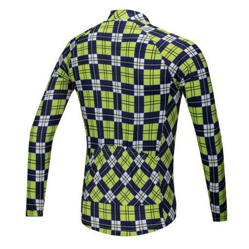 Lumberjack long sleeve cycle jersey yellow-blue rear view