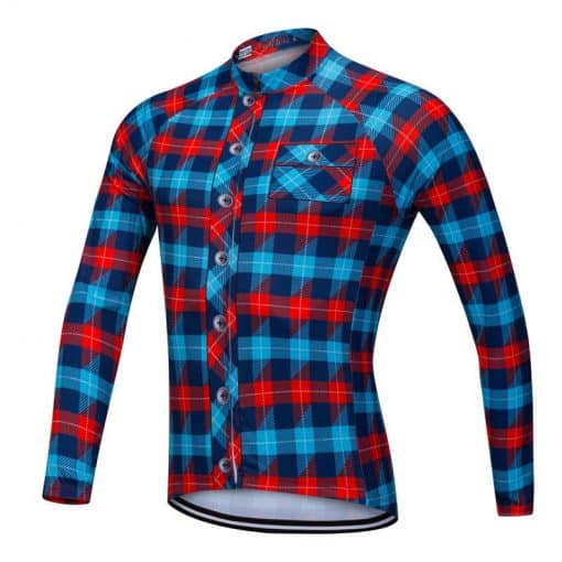 Lumberjack long sleeve cycle jersey blue-red front view