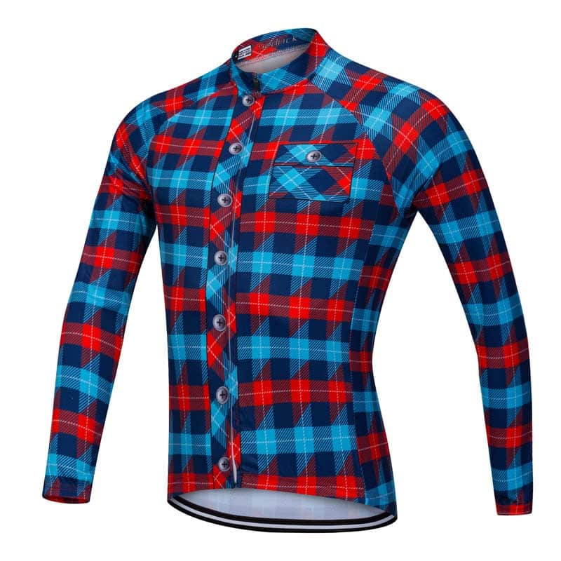Lumberjack long sleeve cycle jersey blue-red front view 0061b216a