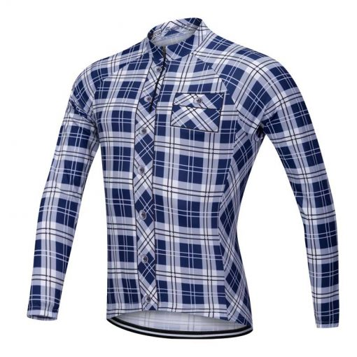 Lumberjack long sleeve cycle jersey blue-white front view