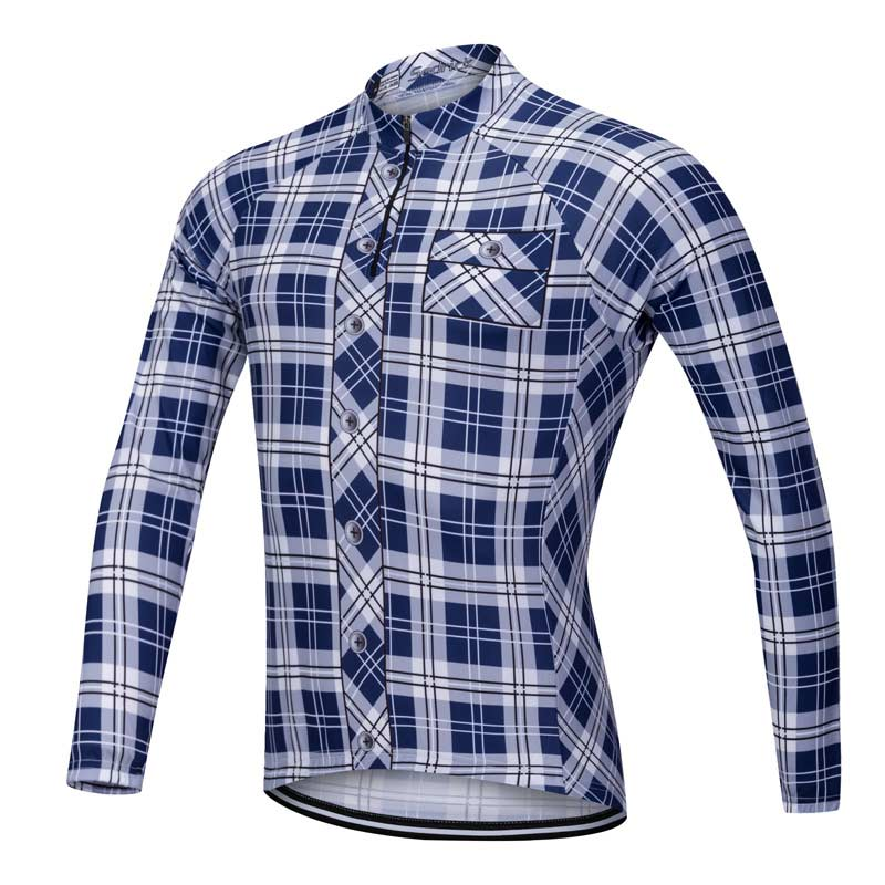 Lumberjack long sleeve cycle jersey blue-white front view 3724d43e0