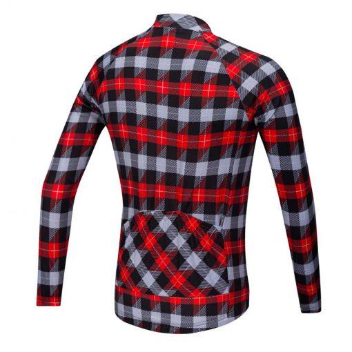 Lumberjack long sleeve cycle jersey red-grey-black rear view