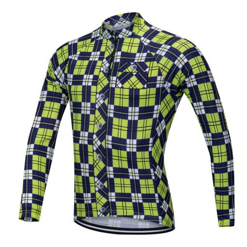 Lumberjack long sleeve cycle jersey yellow-blue front view